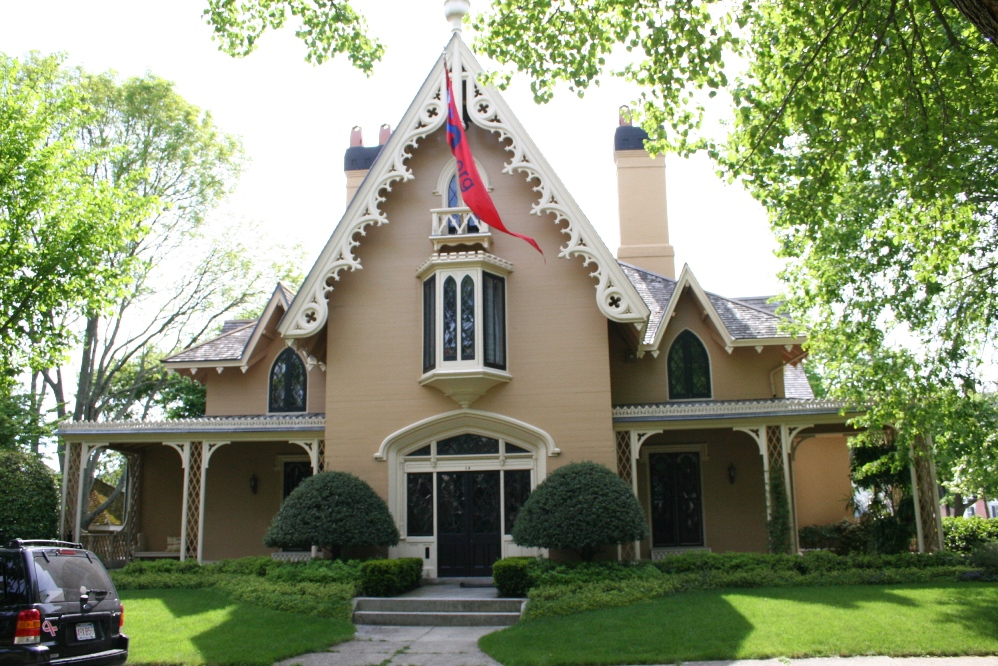 Gothic Revival on queen anne style house