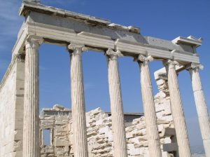 Athens, Greece. Near the Parthenon. Demonstrating the Ionic Order.
